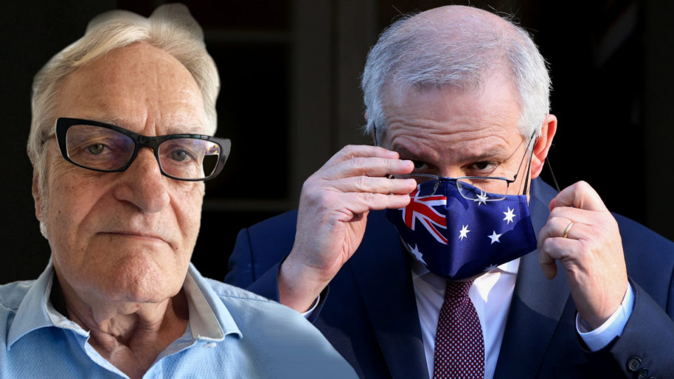 Prime Minister Scott Morrison is seen wearing a face mask during a press conference at Kirribilli House on July 16, 2021 in Sydney