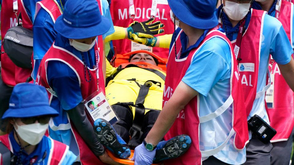 Saya Sakakibara crashed out of the Olympics in the BMX semi-finals.