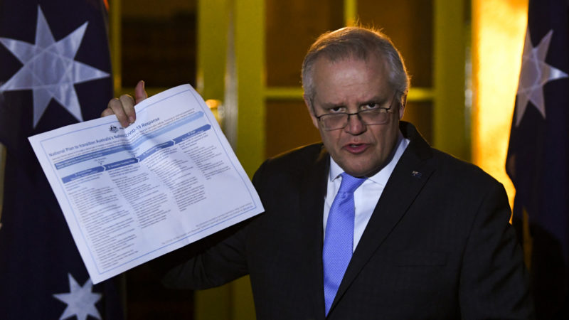 Australian Prime Minister Scott Morrison speaks to the media during a press conference following a national cabinet meeting, at the Lodge in Canberra, Friday, July 30, 2021.
