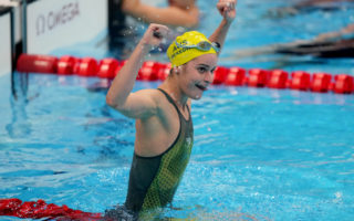 Kaylee McKeown of Australia reacts after winning gold in the Women's 200m Backstroke Final at the Tokyo Aquatics Centre during the Tokyo Olympic