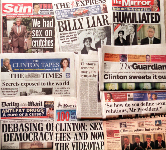 Lewinsky and Clinton scandal makes headlines
