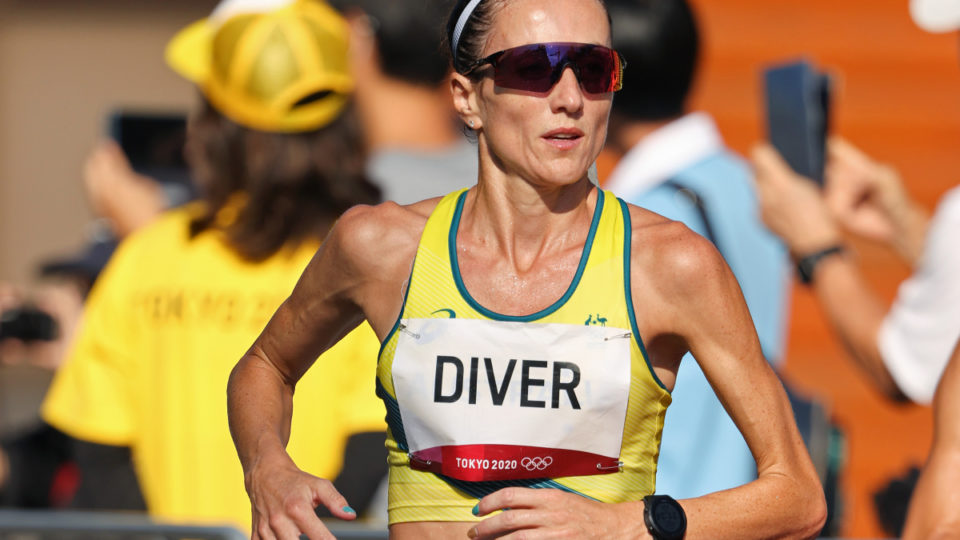 Sinead Diver of Team Australia competes in the Women's Marathon Final on day fifteen of the Tokyo 2020 Olympic Games at Kasumigaseki Country Club on August 07, 2021 in Kawagoe, Japan