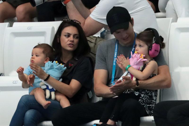 Mila Kunis and Ashton Kutcher don't bathe their kids often