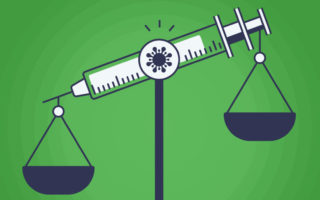 Vaccine Mandate Scale Weighing Options Concept