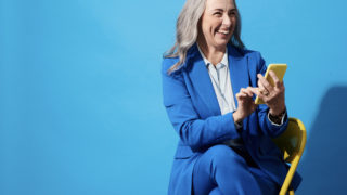 debt business woman blue suit