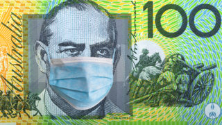 Australia quarantine, 100 dollar banknote with medical mask. The concept of epidemic and protection against coronavrius. - stock photo