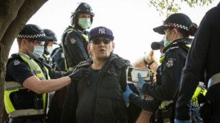 Anti-lockdown protester arrested