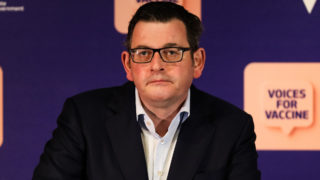 Premier of Victoria Daniel Andrews reacts whilst speaking to the media