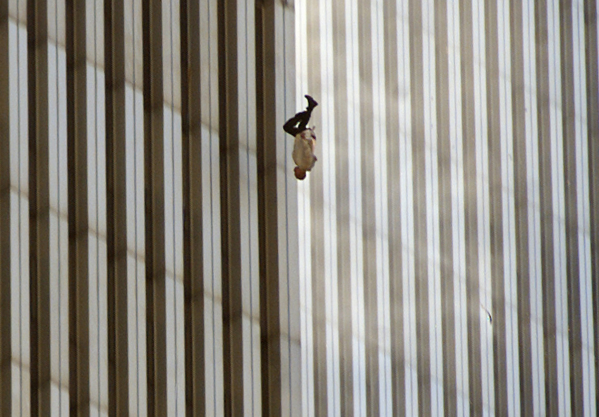 """""""The Falling Man"""" taken by Associated Press photographer Richard Drew during the Sept. 11, 2001, terrorist attacks on the World Trade Centre in New York. The man in the picture has never been identified, however it is highly speculated it is Jonathon Briley who worked in the north tower of the World Trade Centre. A short-film based on this theory and the picture, 9/11 Falling Man, will screen in Australia on August 31, at 9.20pm (AEST) on the ABC."""