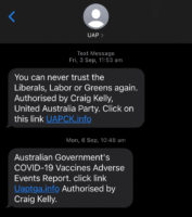 UAP Craig Kelly text messages