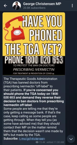 George Christensen's Telegram