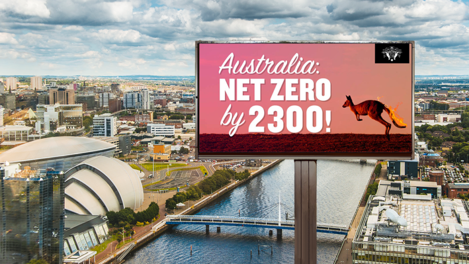 cop26 Satirical climate change billboards are set to pop up at COP26 in Glasgow.
