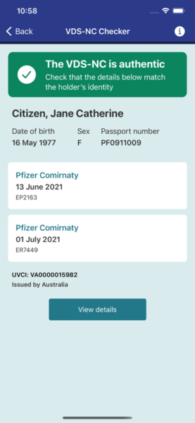 Australia's VDS-NC Checker app will scan vaccine passports.