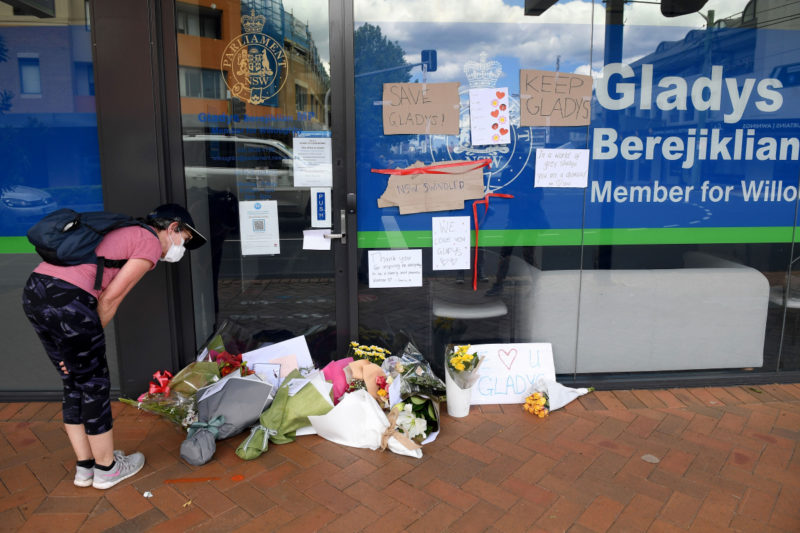 Gladys Berejiklian's office in Willoughby has been inundated with flowers and messages.
