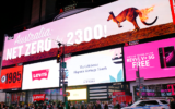 Dan Ilic erected climate change billboards at Times Square in New York City.